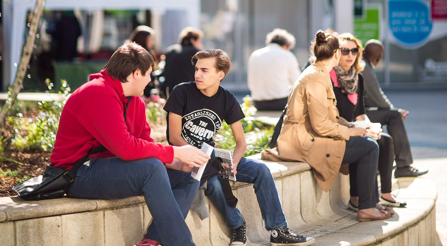 Our campus squares are a great place to meet up with friends.-essex