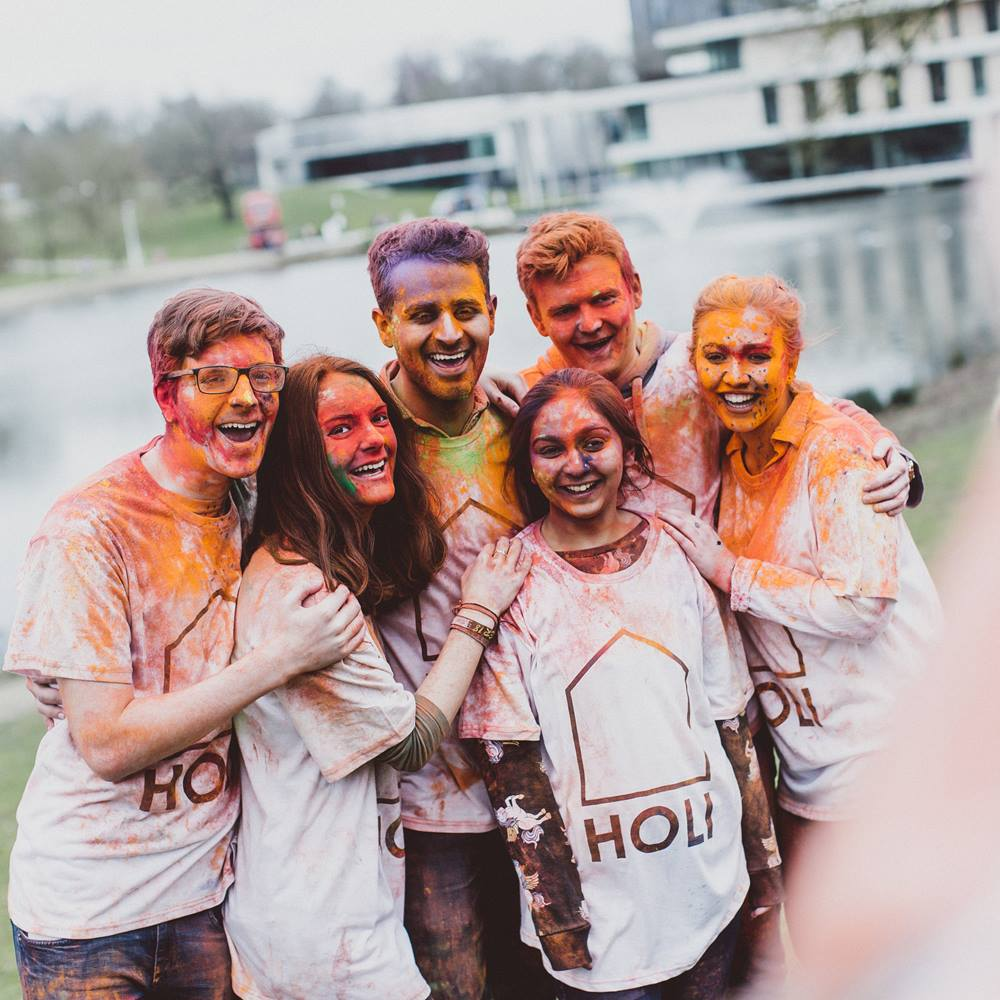 Students at holi-paint festival -essex